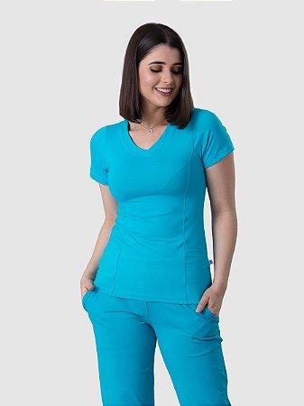 Conjunto Scrub Blusa e Calça Confort Dry Fit Feminino Turquesa