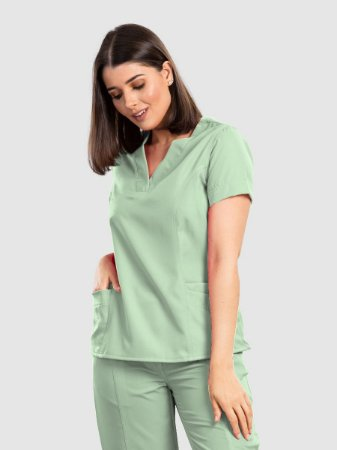 Conjunto Scrub Blusa e Calça Essential Feminino Verde Sálvia