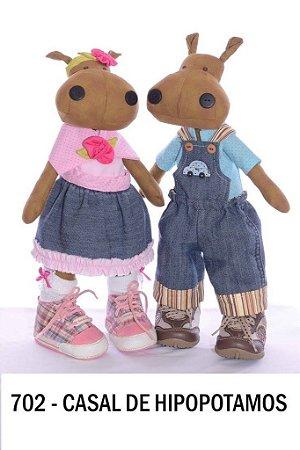 Projeto Bonecos casal de hipopótamos