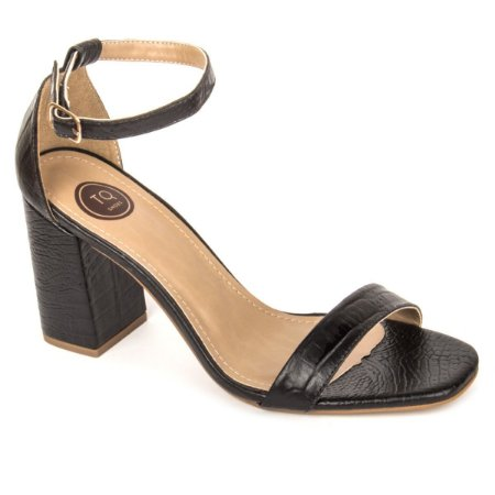Sandália salto bloco Croco Preta Torquini