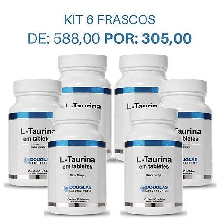 01. KIT 6 L Taurina 75mg sublingual - Douglas Labs (6 frascos de 90 tabletes)