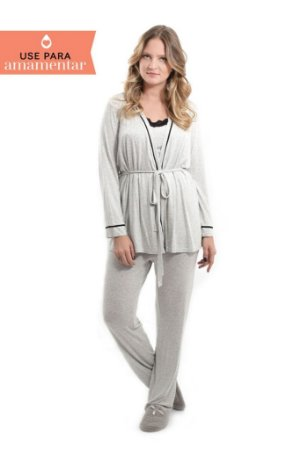 Pijama de Maternidade Júlia - 3 peças Mescla
