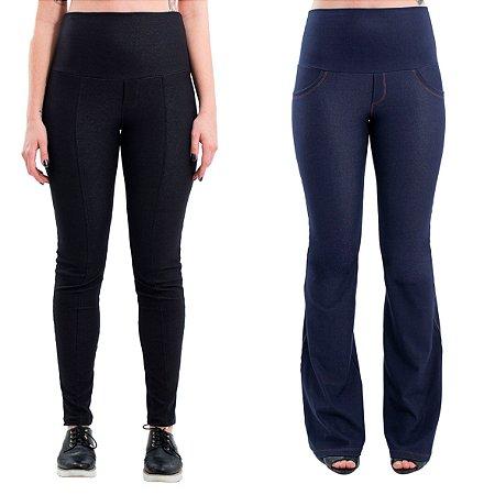 Kit - Legging Gestante - Preta (Black Denim) + Calça Flare - Jeans de moletom
