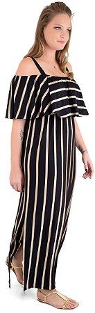 Vestido Amamentação Manoela – Preto Listras Gold
