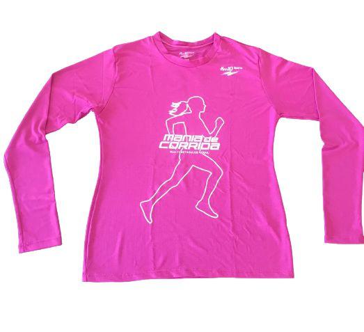 Camiseta Mania de Corrida Rosa Manga Longa em Poliamida