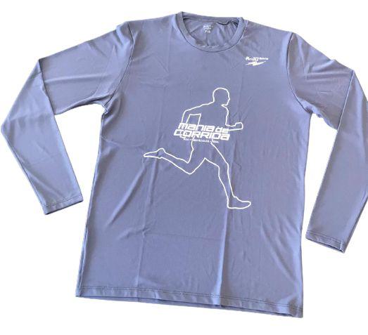 Camiseta Mania de Corrida Cinza Manga Longa em Poliamida