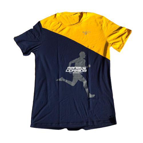 Camiseta Mania de Corrida Azul Marinho e Amarelo - Special Edition