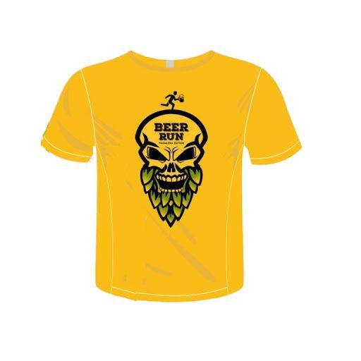 Camiseta Beer Run Amarela em Poliamida