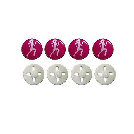 Button Prendedor de Número com Adesivo Resinado Corredora Rosa