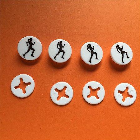 Button Branco Corredora Preta - Prendedor Número de Peito