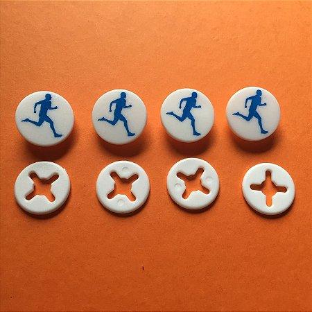 Button Branco Corredor Azul - Prendedor Número de Peito