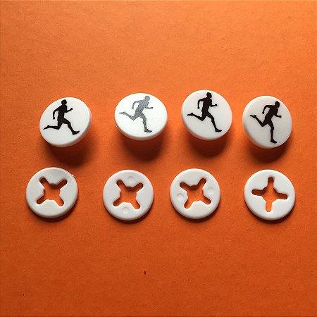 Button Branco Corredor Preto - Prendedor Número de Peito