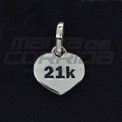 Pingente 21k em Prata 950 - Meia Maratonista