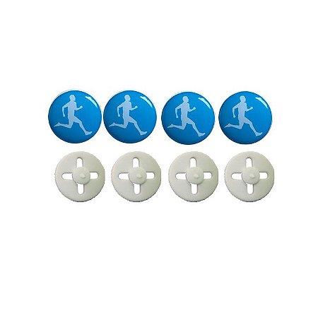 Button Prendedor de Número com Adesivo Resinado Corredor Azul Claro