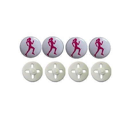 Button Prendedor de Número com Adesivo Resinado Corredora Branco e Rosa