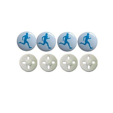 Button Prendedor de Número com Adesivo Resinado Corredor Branco e Azul