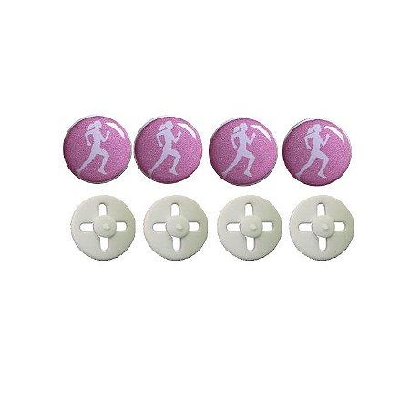Button Prendedor de Número com Adesivo Resinado Corredora Rosa Claro e Branco
