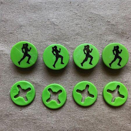 Button Verde Corredora Preto - Prendedor Número de Peito
