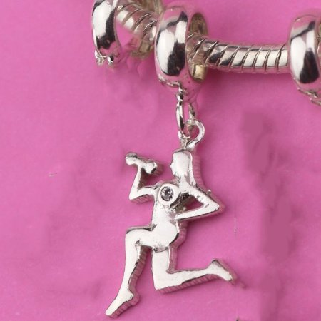 Berloque CrossFit /Muculação Prata 925 com 1 Zirconia