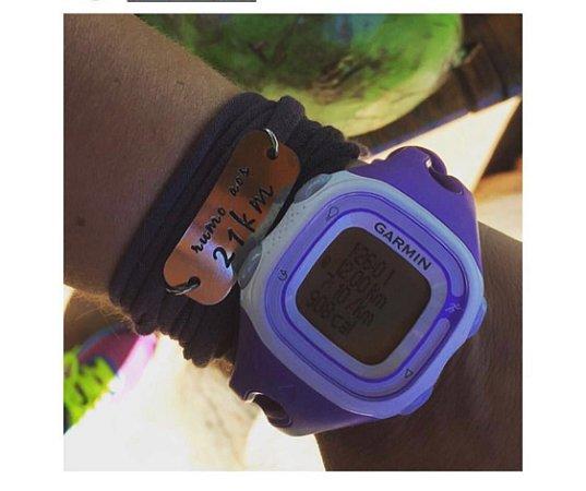 Pulseira Motivacional - Rumo ao 21k - Bracelete Preto