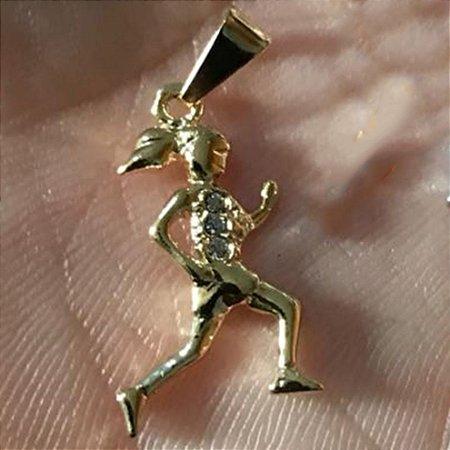 Pingente Corredora Folheado Ouro 18k e 3 Zircônias