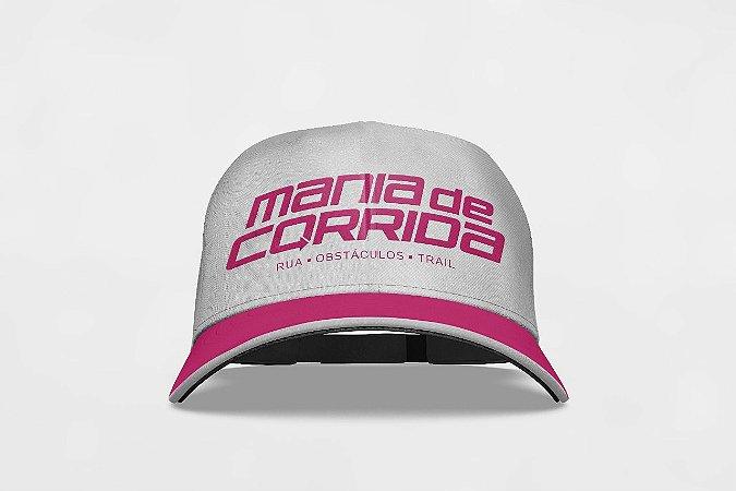 Boné Mania de Corrida Branco e Pink