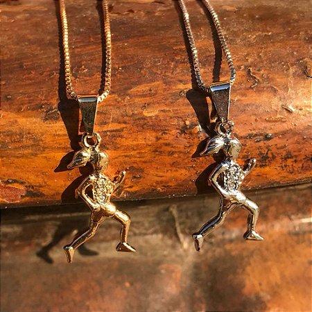 Conjunto Pingente Corredora 3 Zircônias + Corrente Veneziana 45 cm -  Folheados Ouro 18k ou Ouro 6e1372ed2c