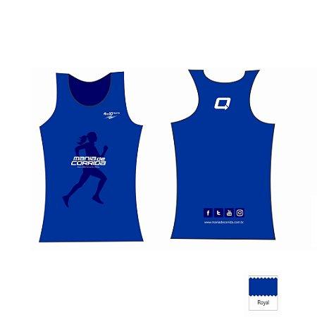 Regata Feminina Azul Mania de Corrida - Tecido Tecnológico UV Protection