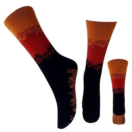 Meias Poliamida Respingo Laranja, Vermelho E Preto (Tamanho Único: 35 ao 43)