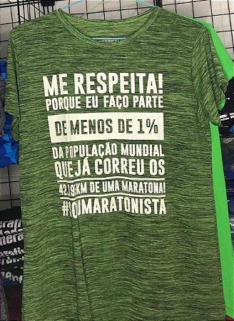 "Camiseta ""ME RESPEITA #SOUMARATONISTA"" Mescla Verde"