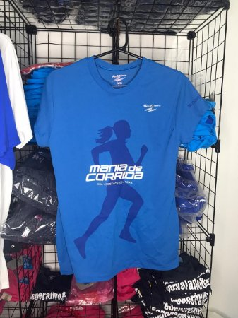 Camiseta Mania de Corrida Linha Basic Feminina Azul