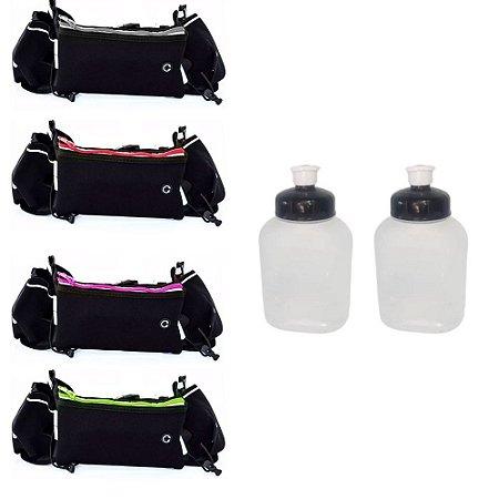 Cinto Pochete de Hidratação com um compartimento e suporte para duas garrafas de 250 ml inclusas