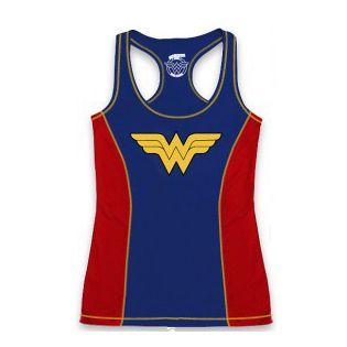 Camiseta Regata Corrida Mulher Maravilha Azul e Vermelha - Produto Oficial Yescom | DC Runseries