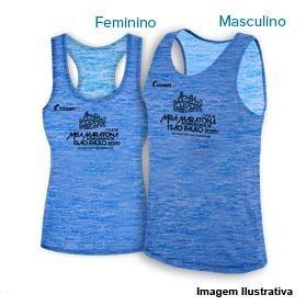 Camiseta Regata Meia Maratona Internacional de São Paulo 2020 - Mescla Azul