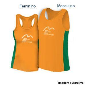 Camiseta Regata Meia Maratona Internacional do Rio de Janeiro 2019 (modelagem maior) - Laranja com detalhes verdes