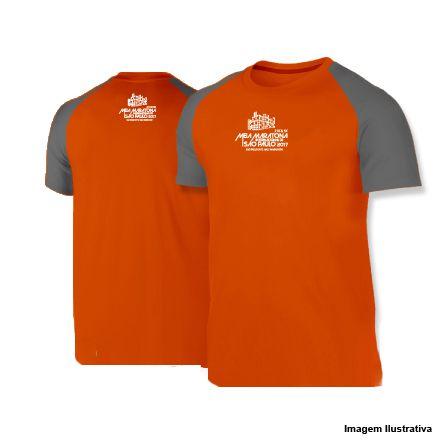 Camiseta Meia Maratona Internacional de São Paulo 2017 - Laranja com Manga Cinza