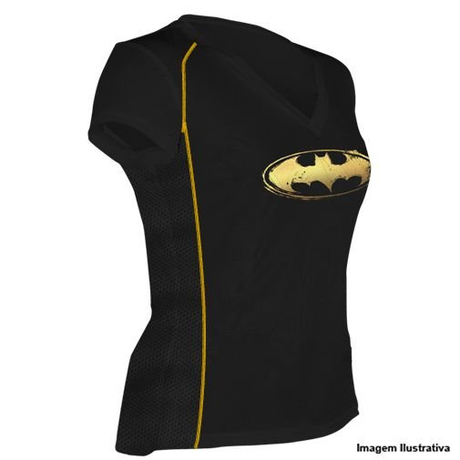 Camiseta Batgirl Preta detalhes Dourados Feminina - Produto Oficial Yescom | DC Runseries