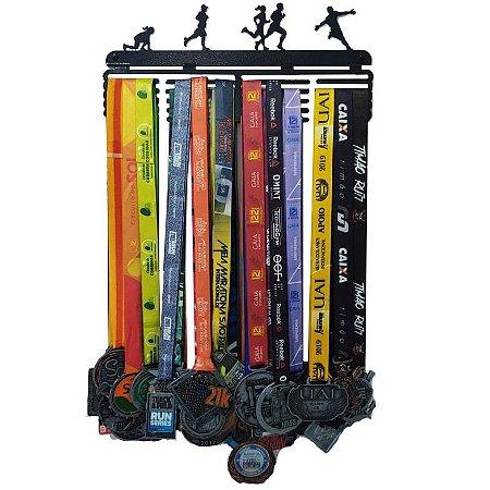 Porta Medalhas Corredores - 36 cm - Preta