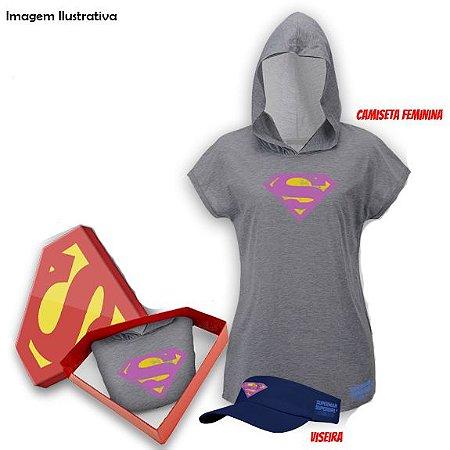 Kit Supergirl Run Viseira + Camiseta Feminina M com Capuz - Produto Oficial Yescom | DC Runseries