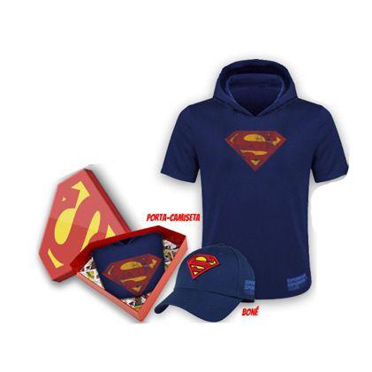 Kit Superman Run Boné + Camiseta Masculina P com Capuz - Produto Oficial Yescom | DC Runseries