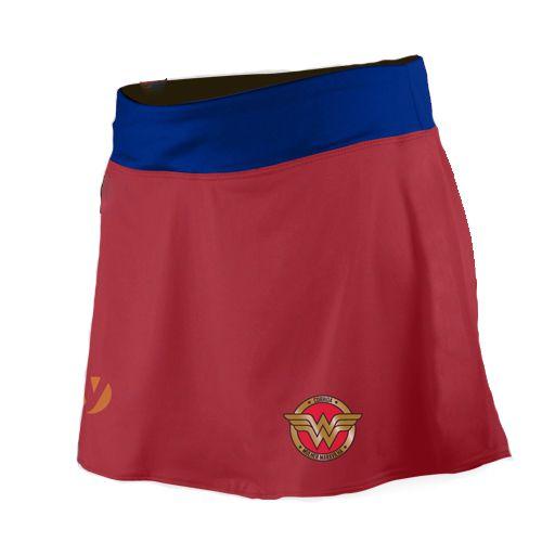Shorts Saia Corrida Mulher Maravilha Vermelho - Produto Oficial Licenciado