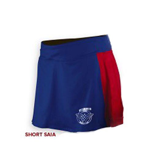 Shorts Saia Corrida Mulher Maravilha Azul e Vermelho - Produto Oficial Licenciado