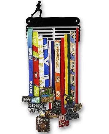 Porta Medalhas Corredor em Aço - Pintura Preta