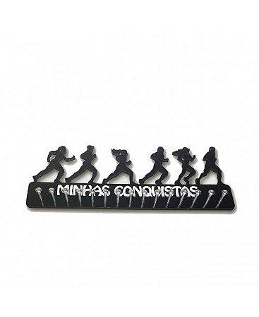 Porta Medalhas Corredores Misto em MDF - Frase: Minhas Conquistas