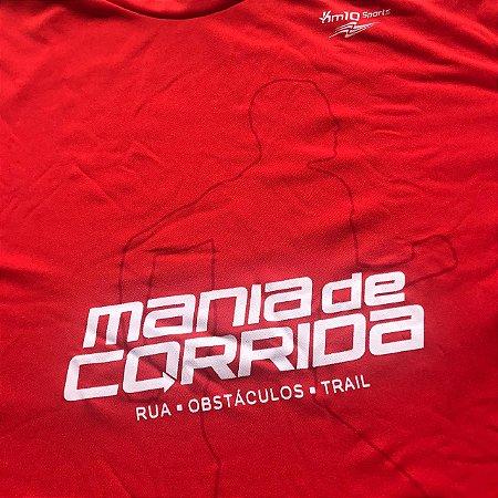 Camiseta Mania de Corrida Vermelha - Tecido Tecnológico UV Protection - Contorno Corredor