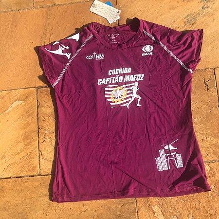 Camiseta Corrida Capitão Mafuz Roxa Feminina - Tecido Tecnológico UV Protection