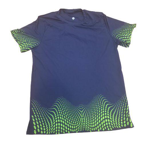 Camiseta Azul Marinho com Detalhes em Verde em Poliamida
