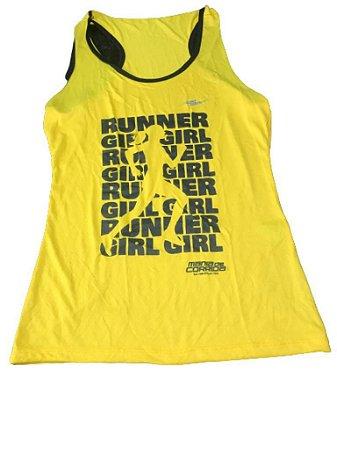 Regata RUNNER GIRL Amarelo - Mania de Corrida