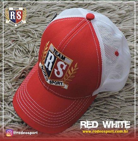 Boné Rodeo Sport Red White Tela