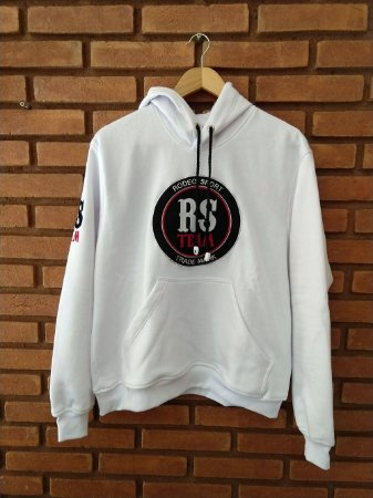 Moletom Capuz Rodeo Sport RS Team Branco Logo Preto